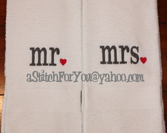 his hers mr & mrs - with Hearts Design perfect for Valenine or Wedding Gift - INSTANT Download Machine Embroidery Design by Carrie