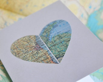 Long Distance Relationship - Map Heart in Two Places Custom Map Card