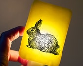Bunny Nightlight on Spring Yellow Fused Glass Night Light - Gift for Baby Shower or Nature Lover - Woodland Animal -  Easter Bunny Rabbit
