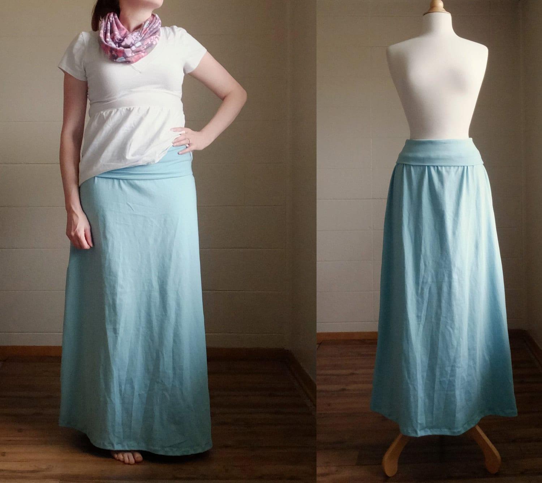 cotton maxi skirt wide fold waistband stretch jersey