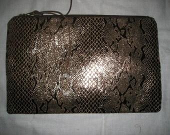 Metallic Faux Snakeskin Clutch Bag
