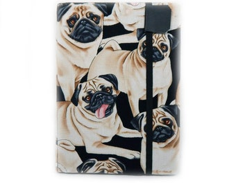 Pug Kindle Paperwhite Cover - Cute Pugs - case for kindle paper white - made to order - kindle voyage, touch, nook HD, kobo, iPad Mini case