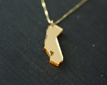California State Necklace - Gold California Necklace - California State Love Necklace Gold California Necklace With Heart Golden