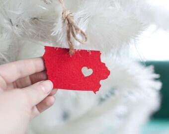 i heart Iowa State Ornament - Red Felt - Iowa Ornament - State Cutout Ornament IA State Pendant Charm With Heart Christmas Ornament