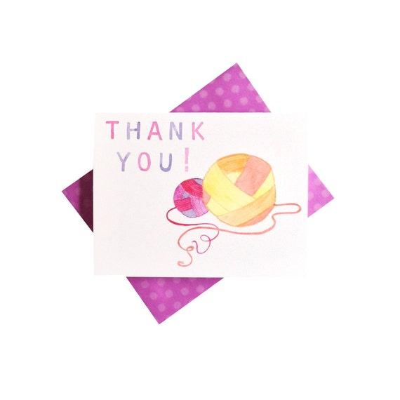 Watercolor Thank You card - yarn balls