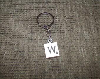 Letter W Scrabble Tile Keychain
