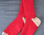 Red/Grey Handknit Wool Socks - L