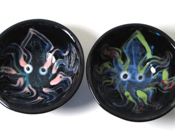 Little Squid dipping bowls, sushi, salt and pepper, mini, serving, pottery, ceramic, tentacle