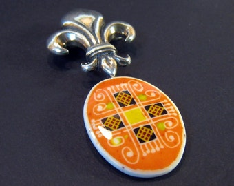 Ukrainian Jewelry - Sterling Silver Brooch with Paska Cross Pendant - ostrich egg shell jewelry