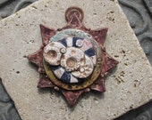 Handmade Pendant Inspired by Antique Maps of Earth and Stars