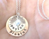 Personalized Hand Stamped Copper and Nickel Necklace with copper pearl, vintage pearl or swarovski crystal