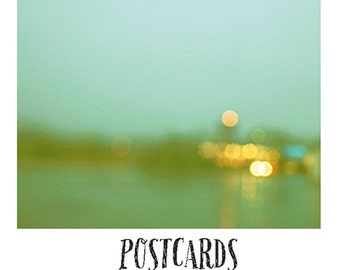 Postcards - Single Card - Blank Cards - Watercolor Memories - Summer - Abstract - Fine Art Postcard - Green - Yellow - Rain