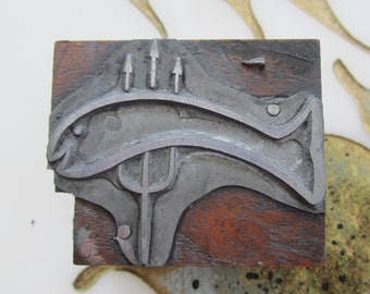Antique Letterpress Printers Block Trident and a Fish