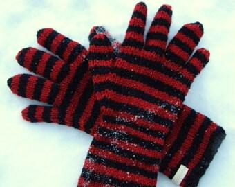 long red & black striped gloves