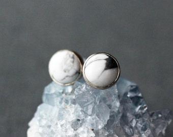 White Howlite Stud Earrings, White Stud Earrings, Sterling Silver, Gemstone Stud Earrings, Gemstone Earrings, Modern Stud Earrings, 6mm Size