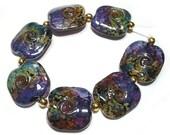 Lampwork Beads Squeezed Rakuli Twists Handmade Glass