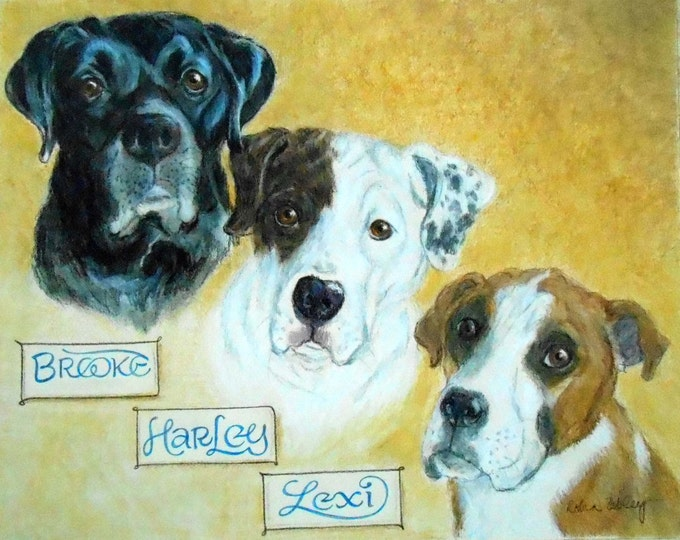 """Custom Pet Portrait, Dog Portrait with Hand Lettering Name Tags, 11"""" x 14"""""""