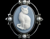 Cameo Brooch Cat Feline Blue and White with Pearls