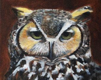 owl painting print of original owl painting Great Horned Owl