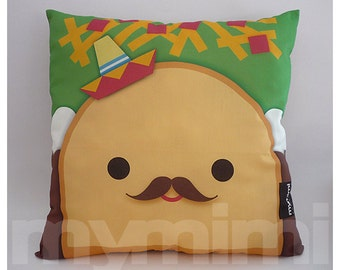 Decorative Pillow, Taco Pillow, Sombrero Pillow, Mexican Food, Throw Pillow, Kawaii, Cushion, Room Decor, Childrens Toys, 16 x 16""