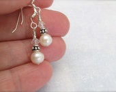 Peite Pearl Earrings, Real Pearl Earrings, Freshwater Pearls, Sterling Silver, Wedding Earrings, White Pearl Earrings, Hawaii Jewelry
