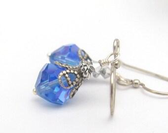 Blue Crystal Earrings, Vintage Swarovski Crystal, Sapphire Blue AB, Wedding Earrings, Blue Wedding, Bridesmaid Jewelry, Hawaii Beads