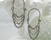 Mixed Metal Chain Chandelier Earrings