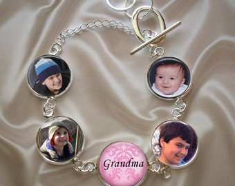 Personalized  Custom Mother or Grandmother Bracelet - Photos and Saying.