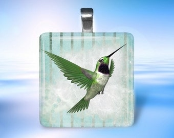 Green Hummingbird  Glass Tile Pendant Necklace