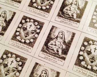 8pcs SCAPULAR CLOTH SQUARES 1890s Jesus Mary & Joseph French