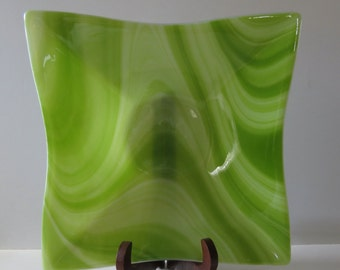 Fused Glass Bowl, Dining and Entertaining, Green and White, Home Decor, Statteam