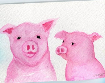 Watercolor painting // Pink pig art// Pigs watercolor painting 4 x 6  original pig watercolor art // pink pigs painting //Farmhouse decor