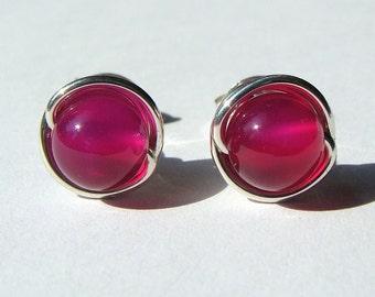 Fuchsia Studs 6mm Pink Agate Studs Post Earrings in Sterling Silver Stud Earrings