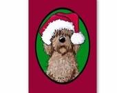 Santa Chocolate Doodle Dog Christmas Card