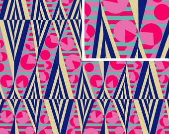 Glow in Navy/ Hapi Collection by Amy Butler  /1 Yard / By the Yard / Cotton  Quilt Apparel Fabric
