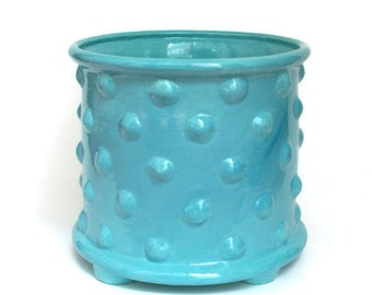 Ceramic Bumpy Planter Pot with Feet - Bright Turquoise