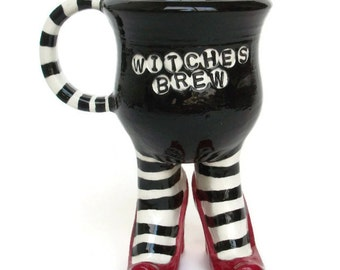 Witches Brew Sex Pot Mug with Striped Stockings and Heels -MADE TO ORDER