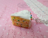 Miniature Food Jewelry, Polymer Clay Food Necklace: Confetti Cake, Birthday Cake Necklace