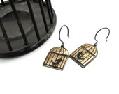 Caged Bird Dangle Earrings - Sterling Silver and Etched Brass