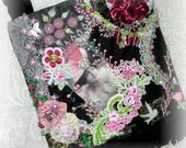Crazy Quilt Handbag Victorian Black Pink Purse Embroidered Beaded