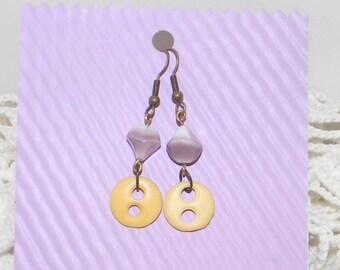 OOAK Vintage Bone Button Agate Earrings