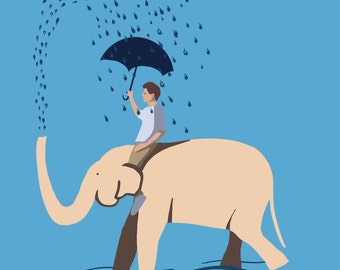 Boy riding an elephant and getting rained on - Original Art Print