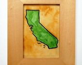 "California Map No. 1 / 2.5"" x 3.5"" Original Watercolor Painting / United States Cartography Series"