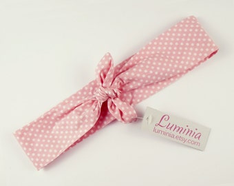 Pink polka dot cotton headband tie up hairband summer retro headscarf rockabilly 40s style