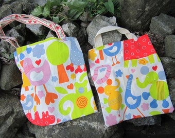 Mama and Toddler Reusable Totes in Super Bright Cotton