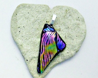 Rainbow Dichroic Fused Glass Pendant