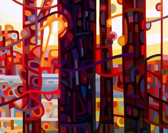 Small Fine Art Poster Print of an Original Abstract Acrylic Painting - Carnelian Morning