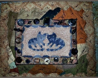 Primitive Punch Needle Needlepunch Cats Cat Miniature Crazy Quilt Wall Hanging PDF Epattern Download Pattern