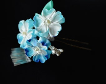 Blue Sakura Kanzashi with Birakan. Silk Cherry Blossoms on Hair Prong.