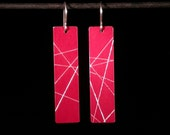 Long Rectangular Anodized Aluminum Earrings - hand scored and cut - surgical steel findings